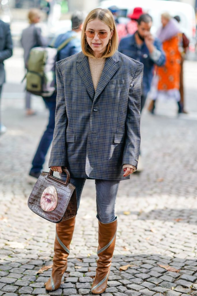 PARIS, FRANCE - OCTOBER 03:  Pernille Teisbaek wears a blazer jacket checkered, outside Miu Miu, during Paris Fashion Week Womenswear Spring/Summer 2018, on October 3, 2017 in Paris, France.  (Photo by Edward Berthelot/Getty Images)